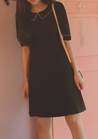 The Birds Of Nights Collar Trim Dress