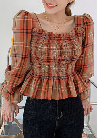 Cute Fall Check Shirring Blouse