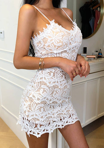 Queen Of The Night Lace Slit Dress