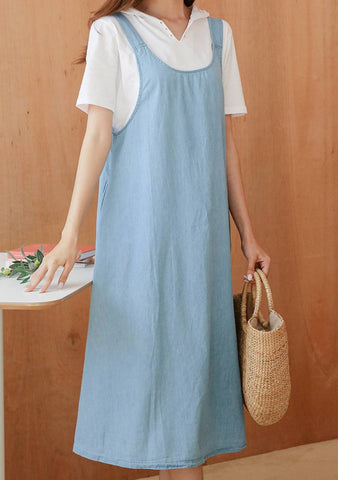 Never Ending Tides Denim Sleeveless Dress