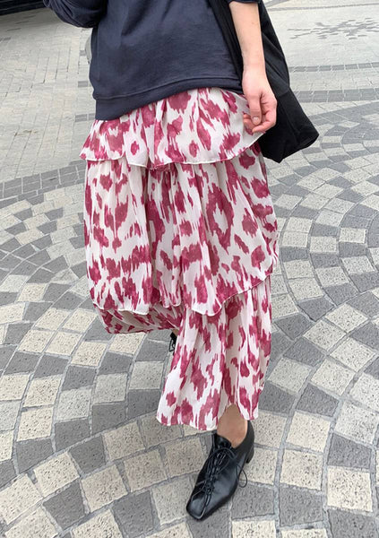 Looking Right Back Print Layered Skirt