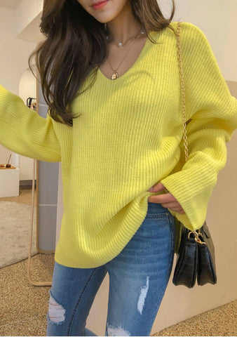 Mood- Boosting Knit V-Neck Sweater