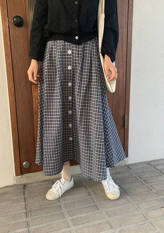 Key Motivations Button Long Skirt