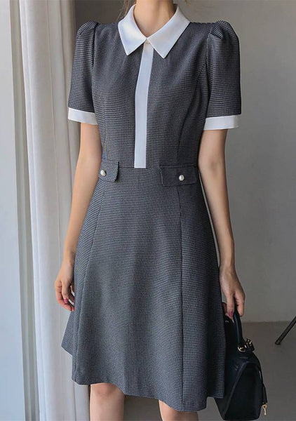 Line Point Checked Dress