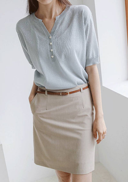 Here Today Linen Knit Top