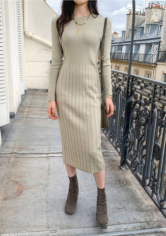 Ethan Ribbed Knit Long Dress