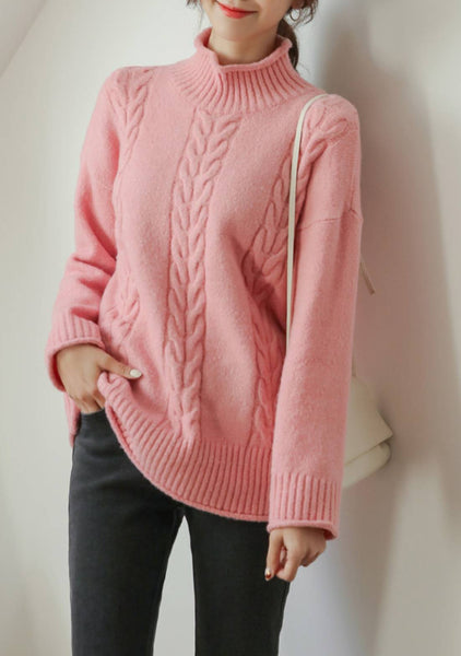 Down And Across Cable Knit Sweater