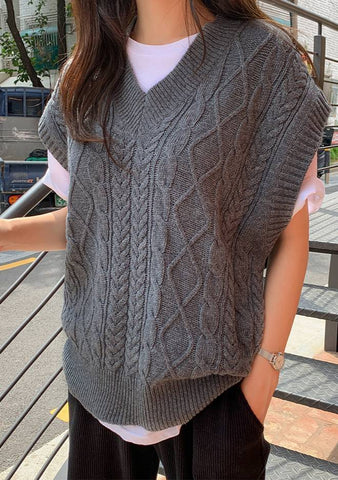 Twisting Tonight Wool Knit Vest