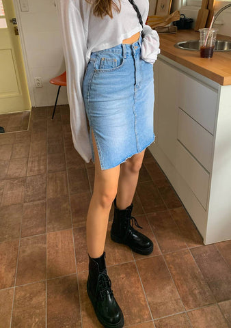 For A Little Too Long Denim Skirt
