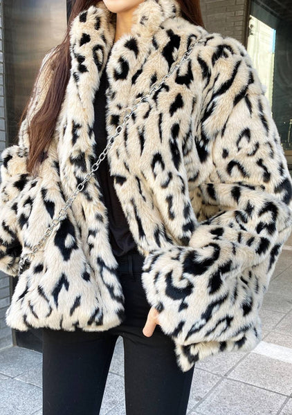 Burning Cities Soft Leo Print Fluffy Jacket