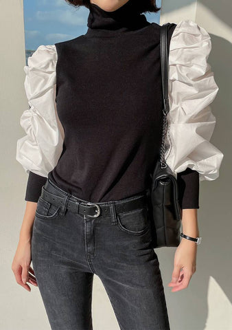 Just One Thing Ruffle Puff Knit Blouse
