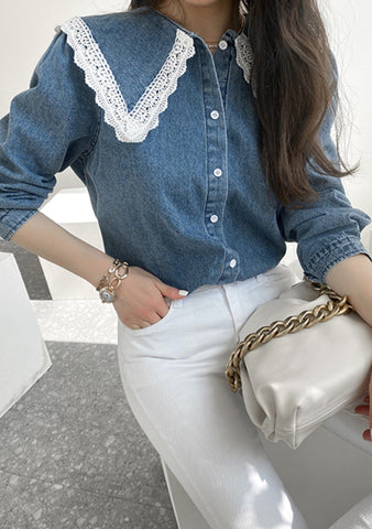 One Last Kiss Denim Blouse