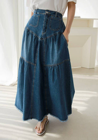 It Comes In Waves Denim Skirt