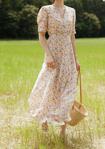 Dreamcatchers Flowers Puff Long Dress