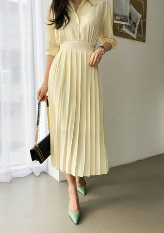 Quiet Waves Pleated Dress