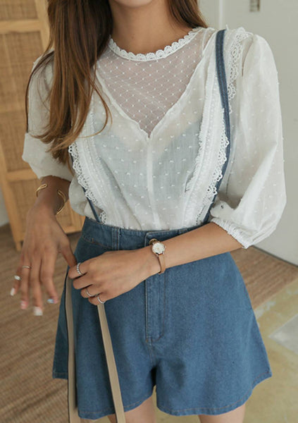 Under Your Nose Lace Blouse Shorts Set