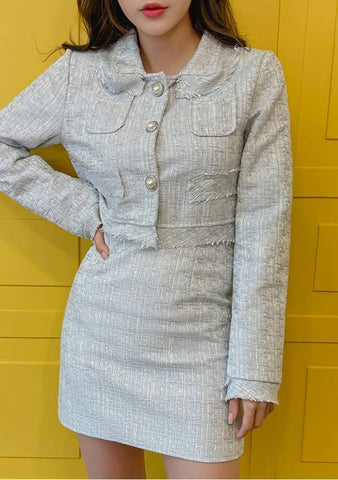 Spring Tweed Jacket And Skirt Set