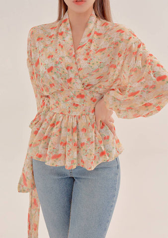 My Flower Kingdom Tied Blouse