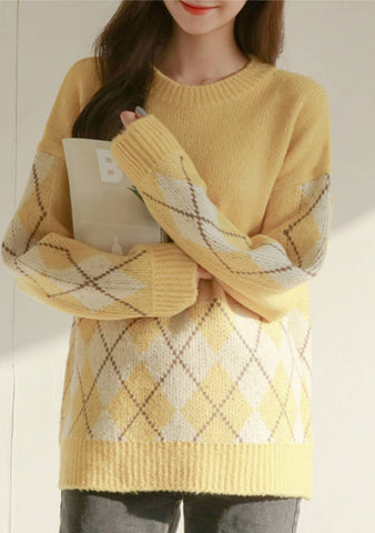 Go Back To Bed Diamond Pattern Knit Sweater