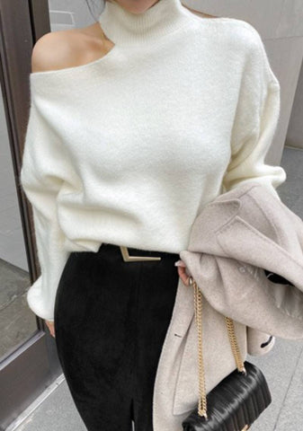 Because Everything Feels Open Shoulder Knit Top