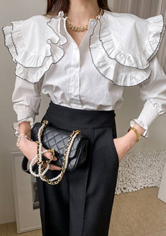 Belong Deeply To Myself Collar Ruffle Blouse