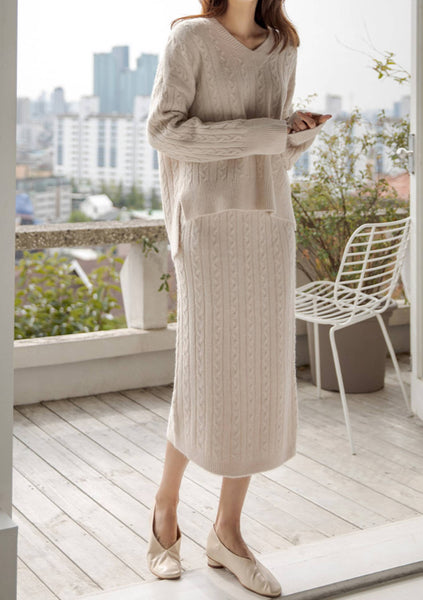 Always Be My Maybe Knit Sweater Skirt Set