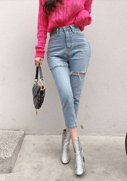 Give Yourself Time To Bloom Distressed Jeans