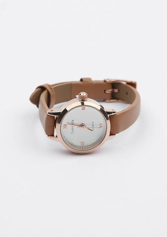 Round Face Leather Wristwatch