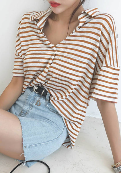 From The Very Start Stripes Linen Top