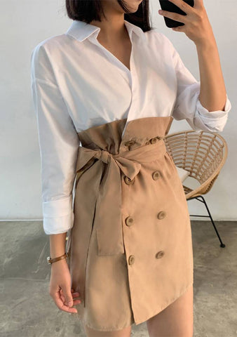Shirt Layered Trench Dress