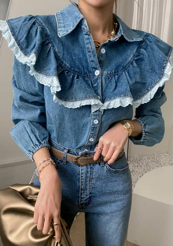 Hello January Collar Denim Blouse