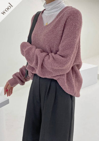 Say Something V-Neck Wool Knit Sweater