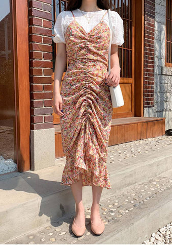 Cherry Blossom Shirring Long Dress