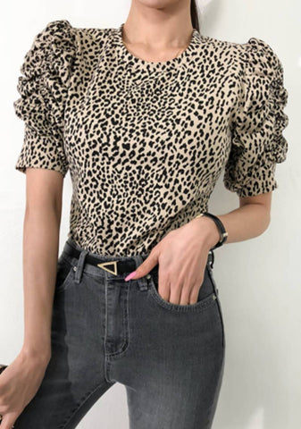We Wont Go Puff Shoulder Leo Print Top