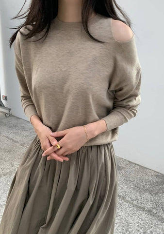 Decorate Your Life Open-Shoulder Knit Top