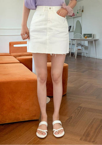 Piece Of Cake Raw Hem Mini Skirt