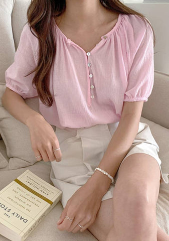 Walk With Knowledge Button Puff Blouse