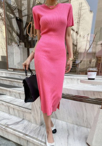 To See The World In Pink Knit Dress