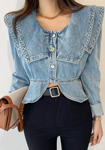 Our Hearts Beat At One Denim Blouse