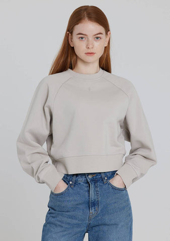 Crop Laglan Sweatshirt (Light Grey)