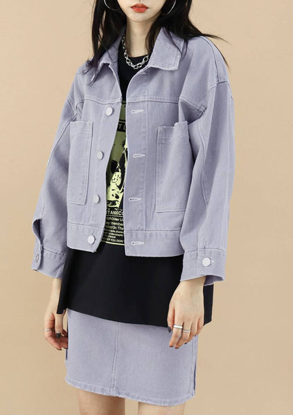 Pick Jacket Skirt Denim Set [Grey]