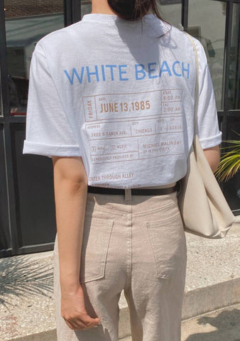 White Beach Printed T-Shirt