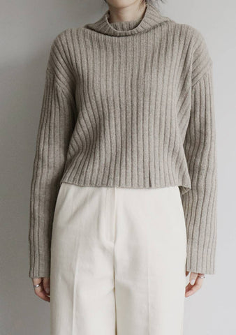 Anemone Wool Knit Top [Beige]
