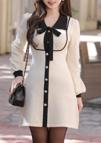 The Kind Of Romance Ribbon Button Dress