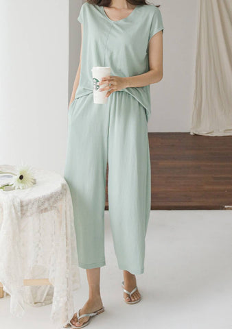 Self Time Top Wide Pants Set