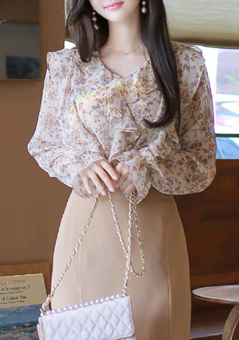 Greater Things Flower Ruffle Blouse