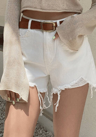 White Fire Raw Hem Shorts
