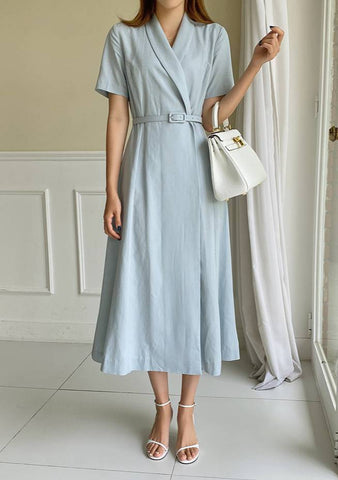 Natural LINEN Hera Shawl Collar Jacket Dress