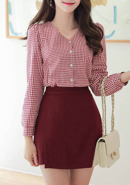 List Of Nice Sounds Check Puff Blouse