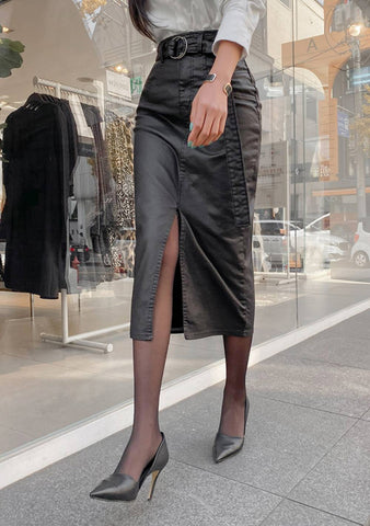 Nothing But Time Leather Slit Midi Skirt